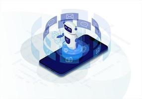chatbot isometrisk marknadsföring vektor