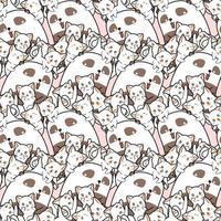 sömlös kawaii panda och vänner mönster i tecknad stil vektor