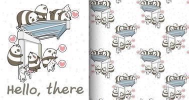 Kawaii Panda und Katze Charaktere warten auf Busmuster
