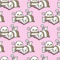 nahtlose kawaii Pandas und Katzen, die Buchmuster lesen