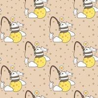 Kawaii Panda und Katzen mit Stab auf Mondmuster vektor