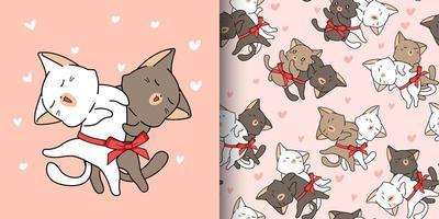 2 söta katter älskar i tecknad stilmönster