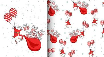 nahtloses Muster kawaii Santa Katze, die mit Luftballons fliegt