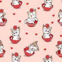 sömlös mönster bedårande katt inuti röd skål med garn