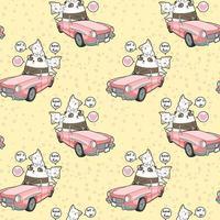 kawaii Panda, der rosa Auto mit 2 Katzenmuster fährt vektor