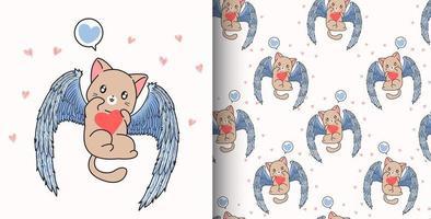 sömlösa mönster kawaii cupid katt håller hjärtat vektor