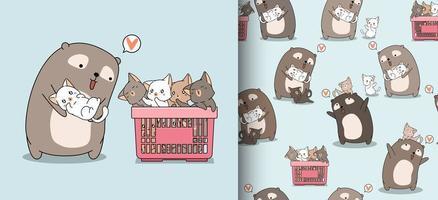 sömlösa mönster tecknade bedårande björn kärleksfulla katter