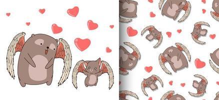 nahtlose Muster entzückende Amorbär- und Amor-Katzenfiguren