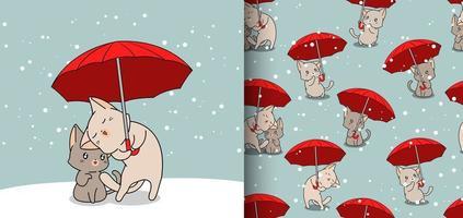 sömlösa mönster kawaii katter i paraply på snö bakgrund vektor