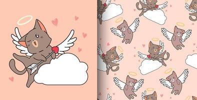 nahtlose Muster-Amor-Katze, die Pfeil auf Wolke hält