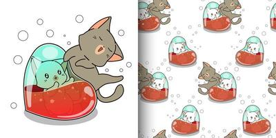 sömlösa mönster kawaii katt inuti hjärta med vän vektor