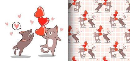nahtlose Muster kawaii Katze, die 3 Herzen mit Freund hält vektor