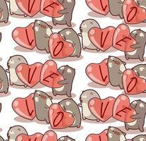 sömlösa mönster handritad björn bär hjärta vektor
