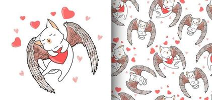 nahtlose Muster kawaii Amor Katze mit Herz Hintergrund vektor