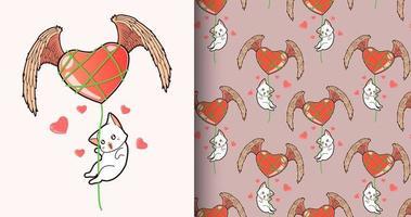 nahtloses Muster kawaii Katze, die über geflügeltes Herz fliegt