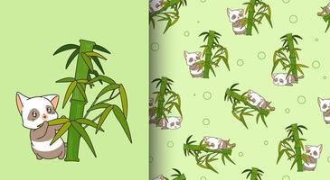sömlösa mönster kawaii panda katt karaktär med bambu vektor