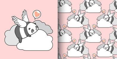 Hand gezeichneter Panda Cupid des nahtlosen Musters auf Wolke vektor