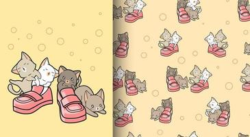 sömlösa mönster kawaii katter med skor vektor