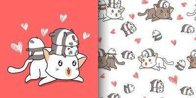 sömlösa mönster kawaii stor katt och små pandor