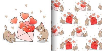 sömlösa mönster kawaii katt med hjärtan inuti kuvert vektor