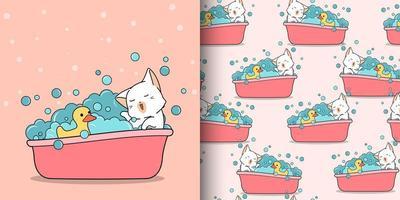 nahtloses Muster kawaii Katze, die mit Gummiente badet