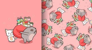 sömlösa mönster kawaii björn och katt med presentpåse
