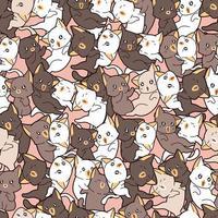sömlösa mönster många olika bedårande katter vektor