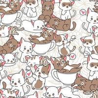 sömlösa mönster många små söta kattkaraktärer vektor