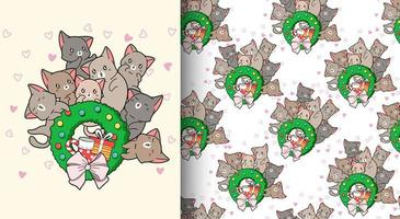 sömlösa mönster kawaii katter älskar runt jul krans vektor