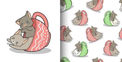sömlösa mönster handritade 2 kawaii katter inuti koppen vektor