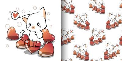 nahtlose Muster kawaii Katze und Herzballons