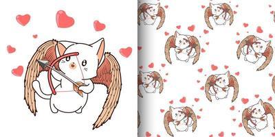 nahtloses Muster kawaii Cupid Cat Charakter mit Bogenschütze vektor