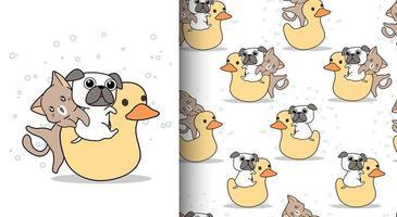 sömlösa mönster kawaii katt och hund ridning ducky docka vektor