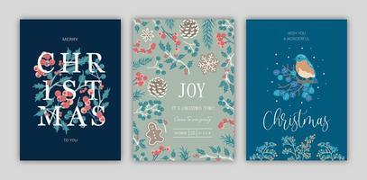 Satz Weihnachtskarten. vektor