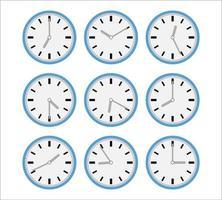 Satz Uhr flach Symbol. vektor