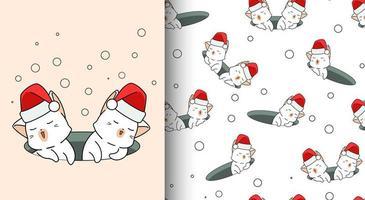 sömlösa mönster kawaii katter bär santa hatt i hålet vektor