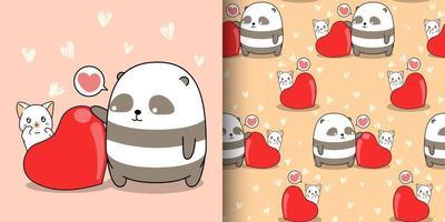 nahtloses Muster kawaii Panda und Katze mit großem Herzen vektor