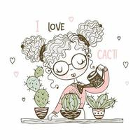 söt tjej vattnar kaktusarna i krukor