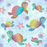 sömlösa mönster med havssköldpaddan vektor