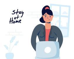 hemmakontor kampanj med kvinna på den bärbara datorn vektor