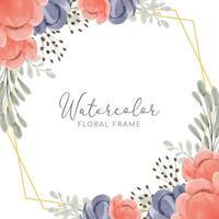 Blumenrahmen Aquarell mit Pfingstrose und geometrischen goldenen Rand gemalt vektor