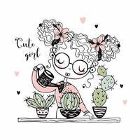 söt tjej vattnar kaktusarna i krukor vektor