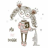 Mädchen in einem Pullover spielt mit einem Hund