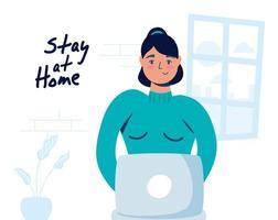 hemmakontor kampanj med kvinna på den bärbara datorn