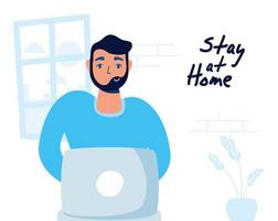 hemmakontor kampanj med mannen på den bärbara datorn vektor