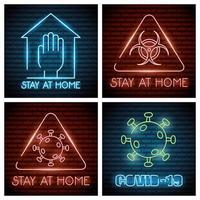 Coronavirus Neonlicht Symbole vektor