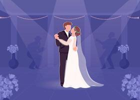 första bruden och brudgummen dansar vektor