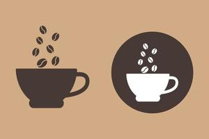 kaffebönor, kaffe kopp objekt vektor