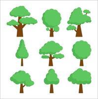 samling träd uppsättning, skog träd. vektor
