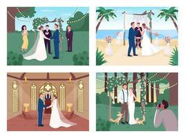 religiöse und zivile Hochzeitszeremonie vektor